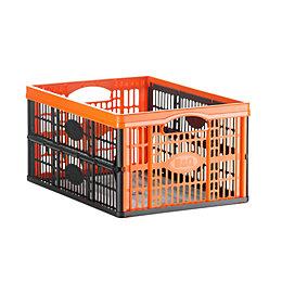 B&Q Black 32L Plastic Crate