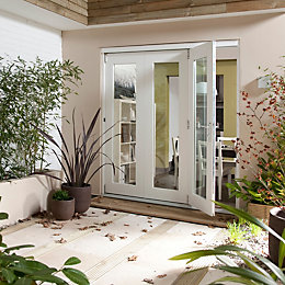 Pre-Finished White Glazed Folding Sliding Patio Doors, (H)2105mm