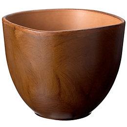 Rounded Square Wood Effect Plant Pot (H)15cm (Dia)20cm