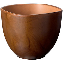 Rounded Square Wood Effect Plant Pot (H)180mm (Dia)240mm