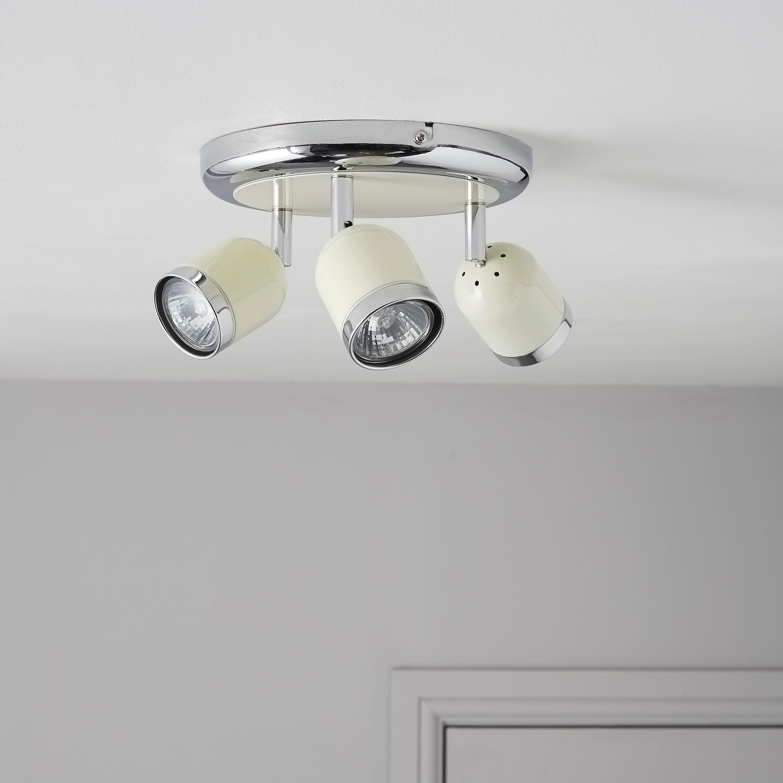 Edge Retro Cream Chrome Effect 3 Lamp Round Spotlight