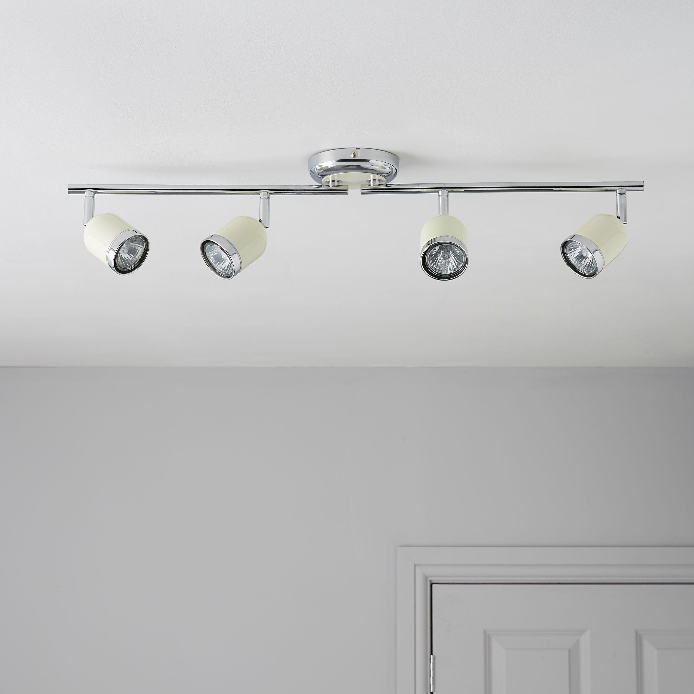 Jena brushed chrome effect 4 lamp bar spotlight for B q bedroom lighting
