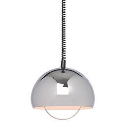 Zodiac Dome Silver Chrome Effect Pendant Ceiling Light