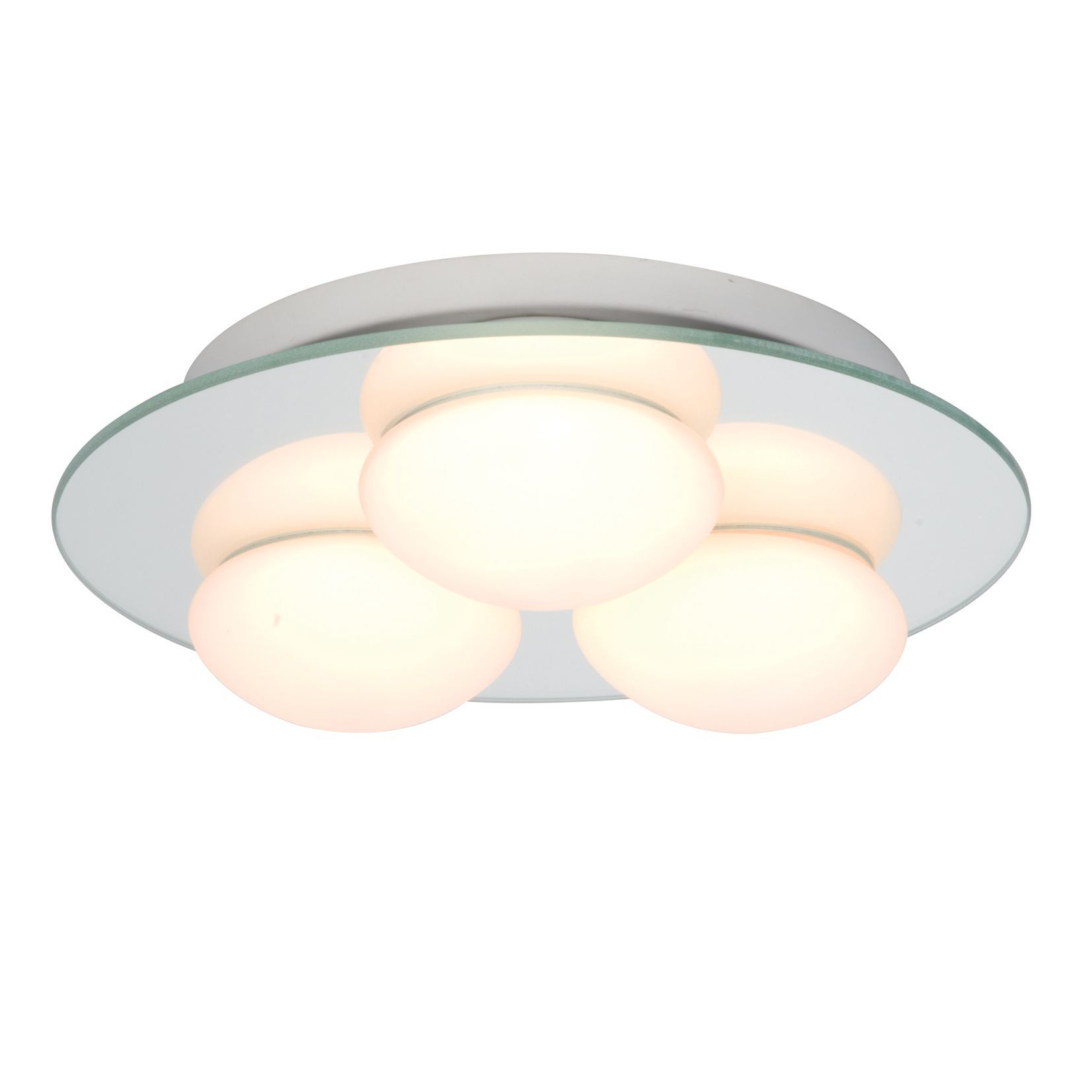 Bathroom Ceiling Lights At B&Q revel silver mirrored effect 3 lamp bathroom flush light