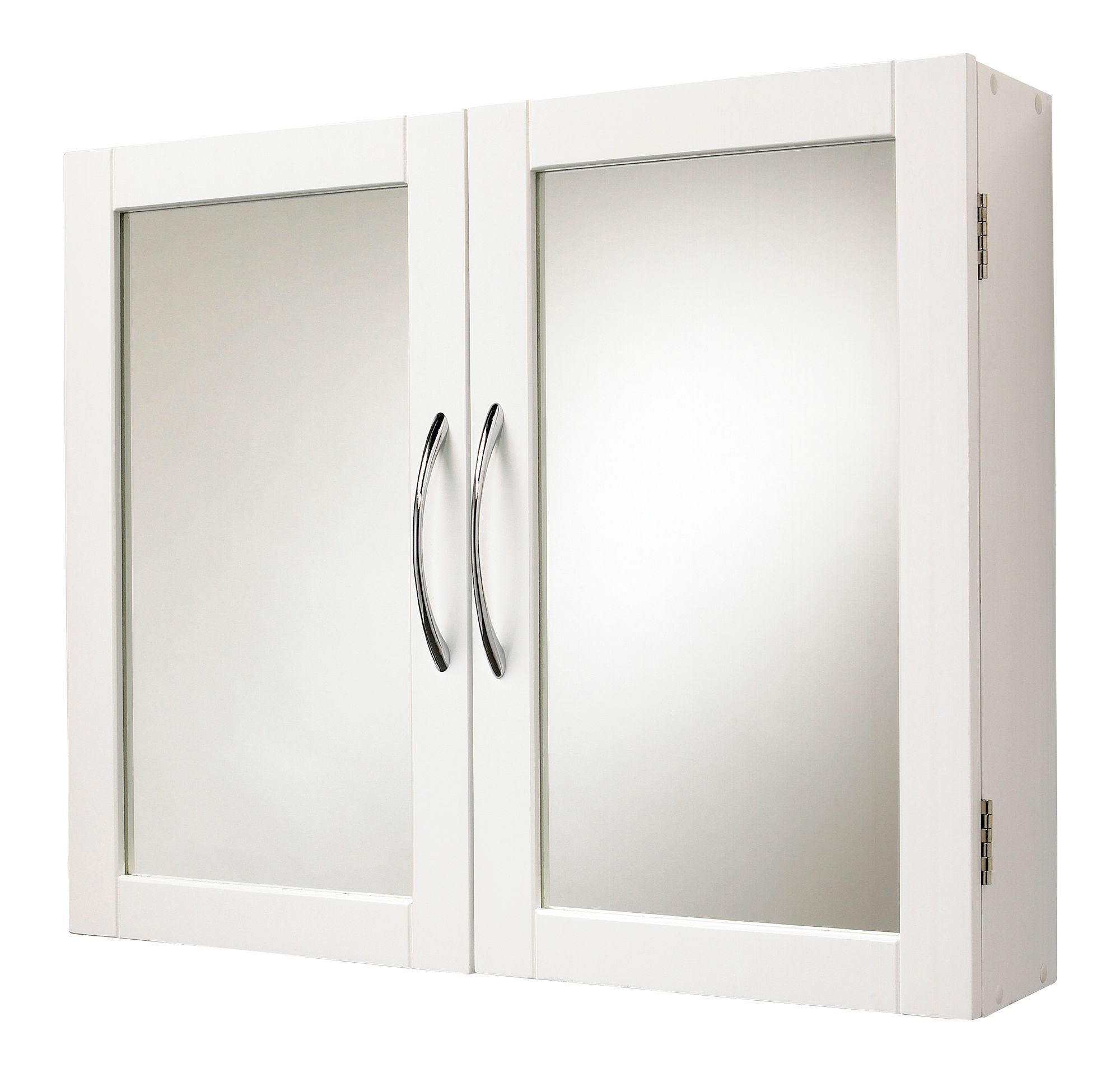 bq lenna double door white mirror cabinet departments diy at bq