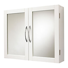 Lenna Double Door White Mirror Cabinet