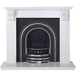 Victoria Sparkly White Micro Marble Fire Surround Set