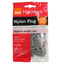 B&Q Nylon Plug, Pack of 50
