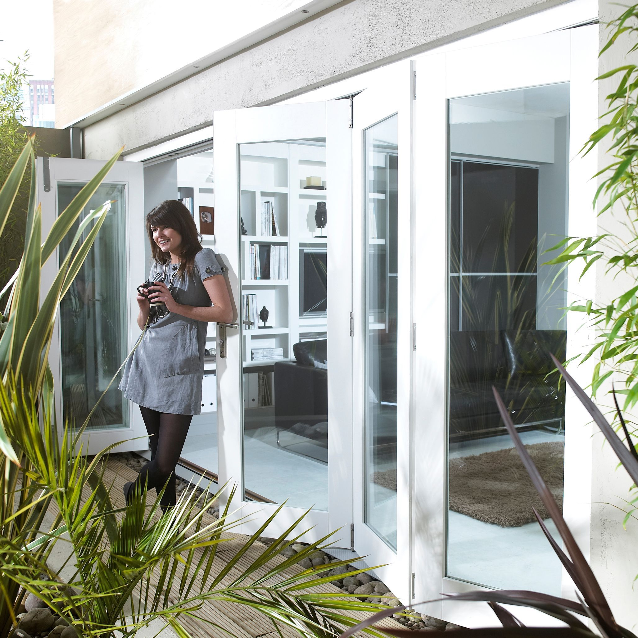 Pre-finished White Glazed Folding Sliding Patio Doors, (h)2105mm (w)4205mm