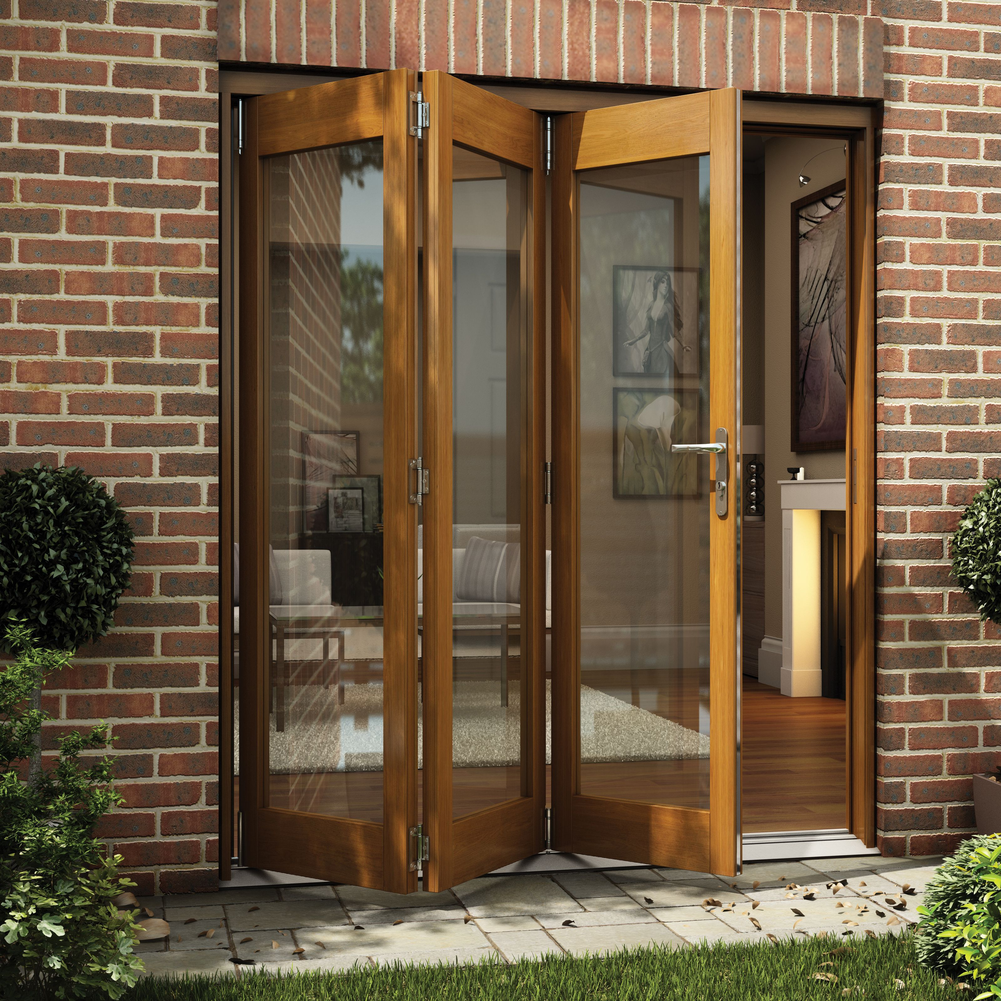 Diy Patio Door Installation: Golden Oak Timber Glazed Sliding Folding Patio Door, (H