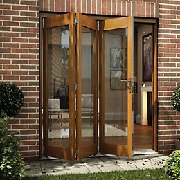Oak Veneer Glazed Folding Sliding Patio Doors, (H)2105mm