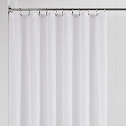 Value White Plain Shower Curtain (L)2.085 M