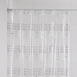 B&Q White Mosaic Stripe Shower Curtain (L)1.8 M