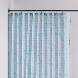 B&Q Blue Mosaic Shower Curtain (L)1.8 M