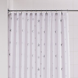 B&Q Silver & White Twinkle Stars Shower Curtain