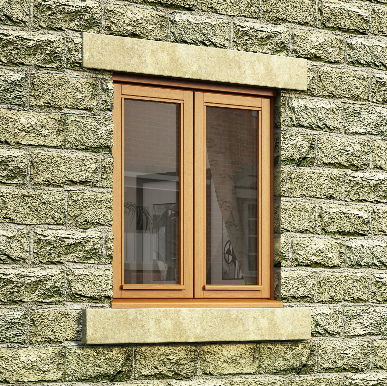Double glazed oak double side hung casement window h for Window treatments for double hung windows
