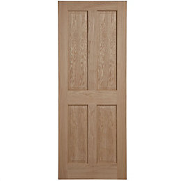 4 Panel Oak Veneer Internal Fire Door, (H)1981mm