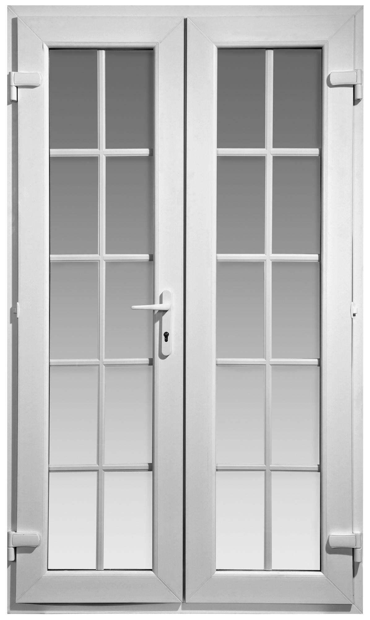 4ft Georgian Clear Glazed Pvcu External French Door Set, (h)2055mm (w)1190mm