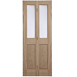 4 Panel Oak Veneer Glazed Internal Bi-Fold Door,