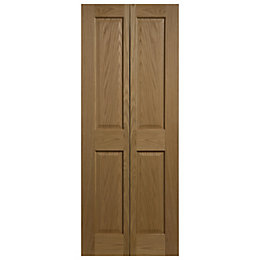 4 Panel Oak Veneer Internal Bi-Fold Door, (H)1981mm