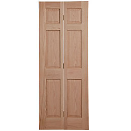6 Panel Oak Veneer Internal Bi-Fold Door, (H)1981mm