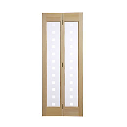 2 Panel Clear Pine Glazed Internal Bi-Fold Door,