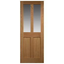 Melbury 4 Panel Oak Veneer Glazed Internal Door,