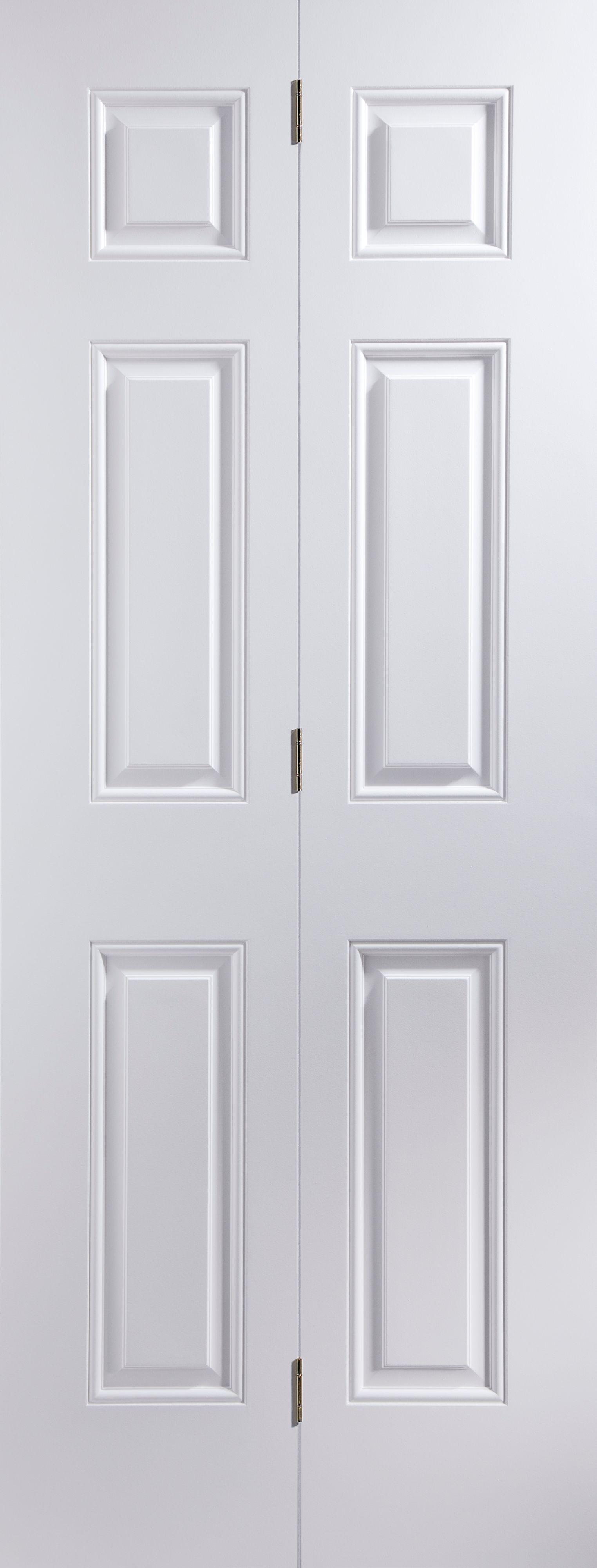 6 Panel Primed Smooth Glazed Internal Bi-fold Door, (h)1950mm (w)595mm
