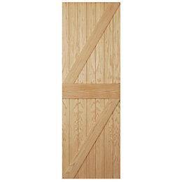 Ledged & Braced Oak Veneer External Door, (H)1981mm
