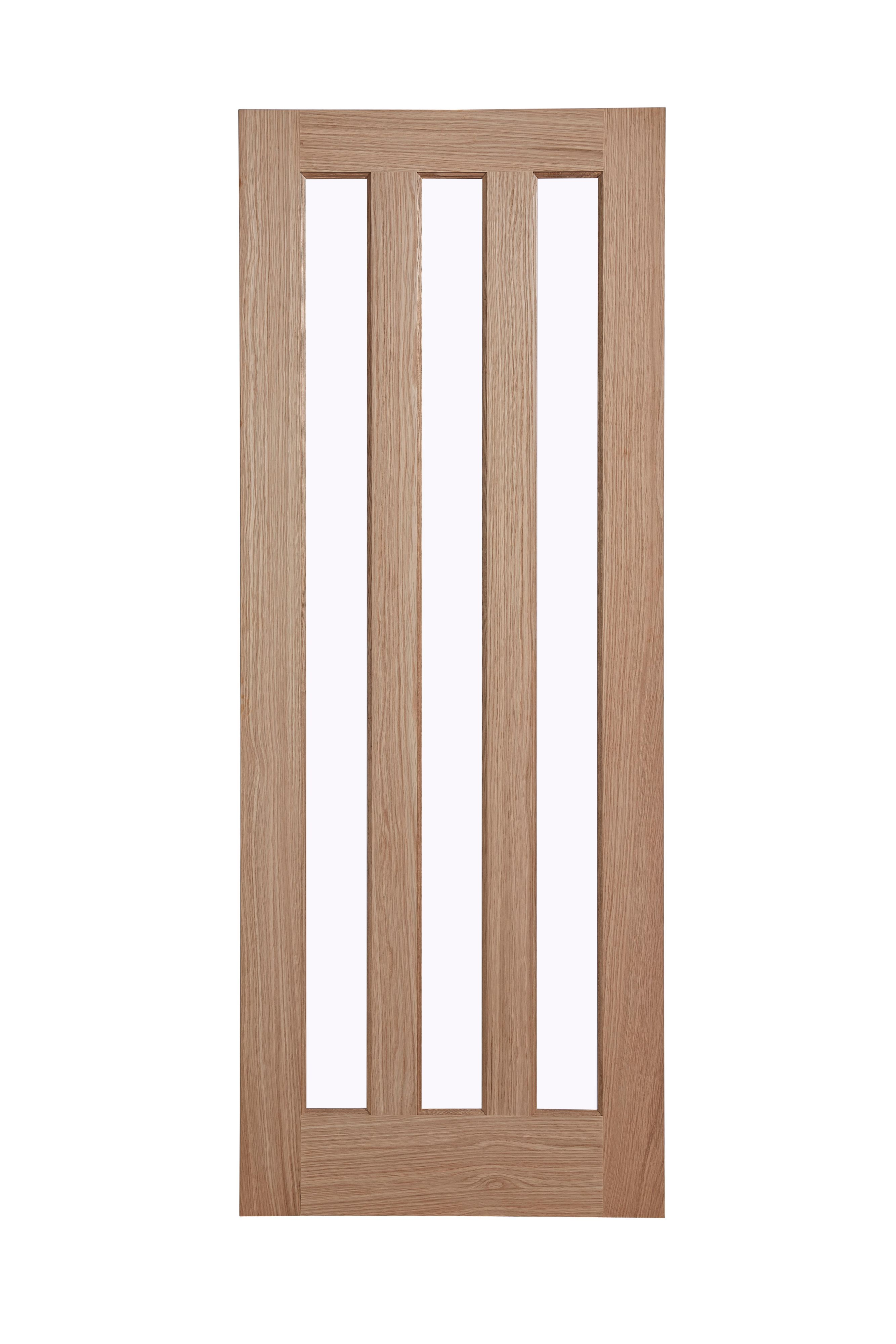 Vertical 3 Panel Oak Veneer Glazed Internal Standard Door, (h)1981mm (w)762mm