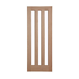 Vertical 3 Panel Oak Veneer Glazed Internal Door,
