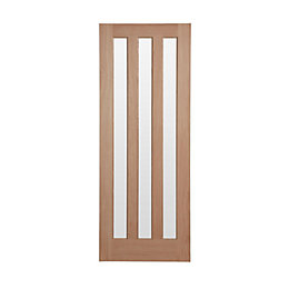 Vertical 3 Panel Oak Veneer Glazed Internal Standard