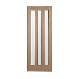 Vertical 3 Panel Oak Veneer Glazed Internal Door,