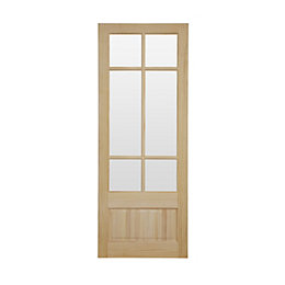 2 Panel Clear Pine Glazed Internal Door, (H)1981mm