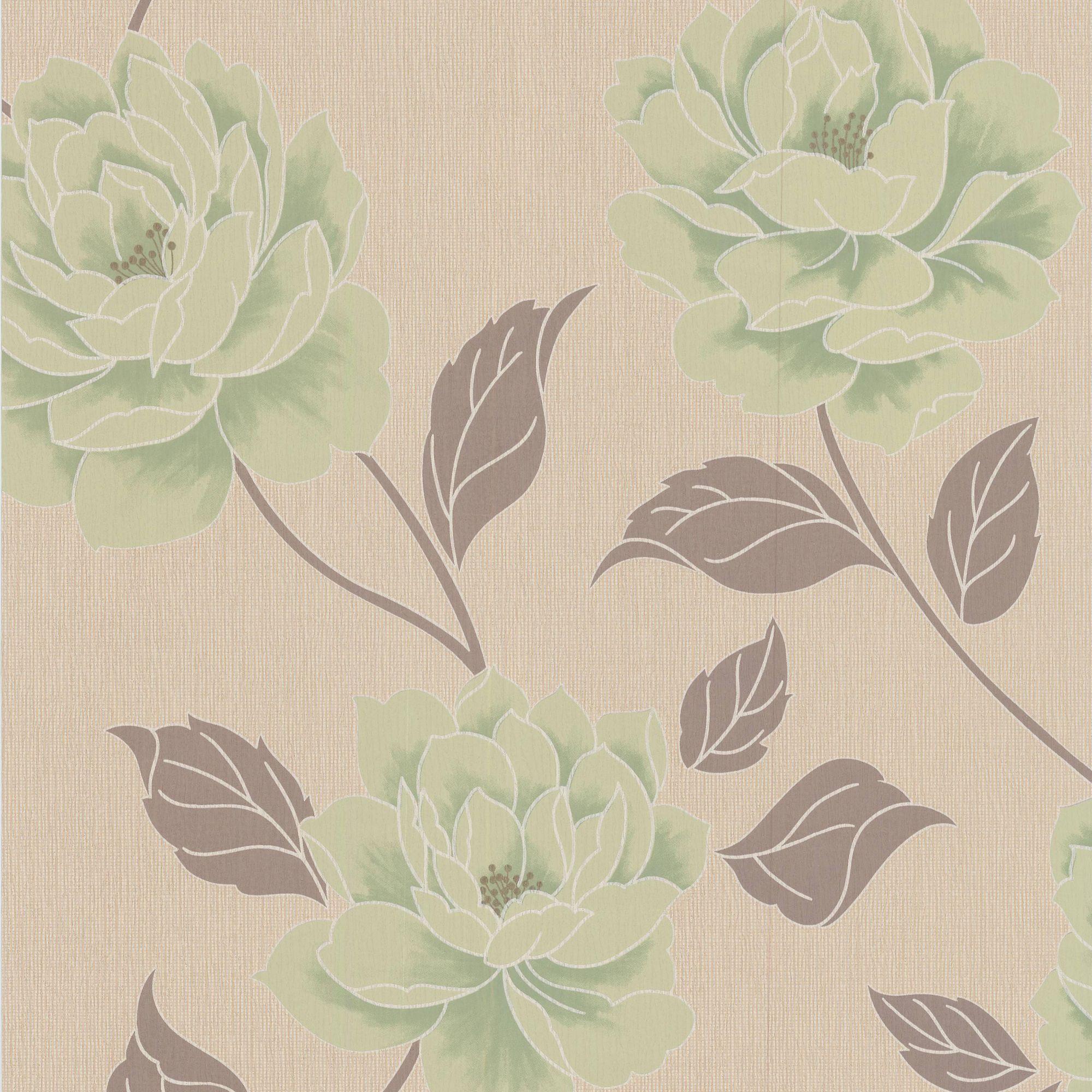 . Colours Ella Spring Green Floral Wallpaper   Departments   DIY at B Q
