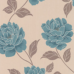 Colours Ella Teal Floral Wallpaper
