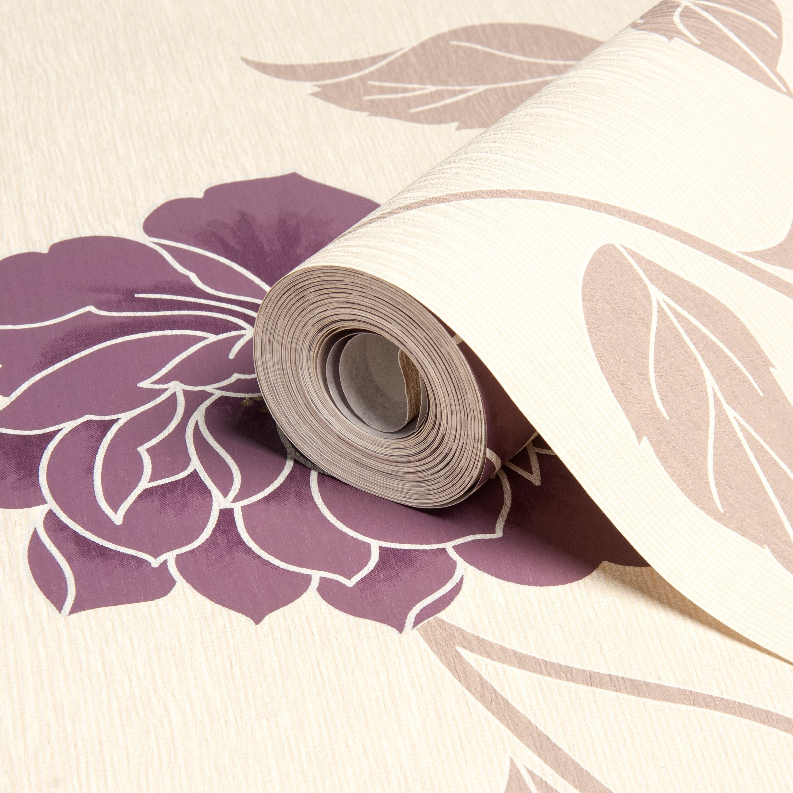 Ella Plum Floral Wallpaper Departments Tradepoint