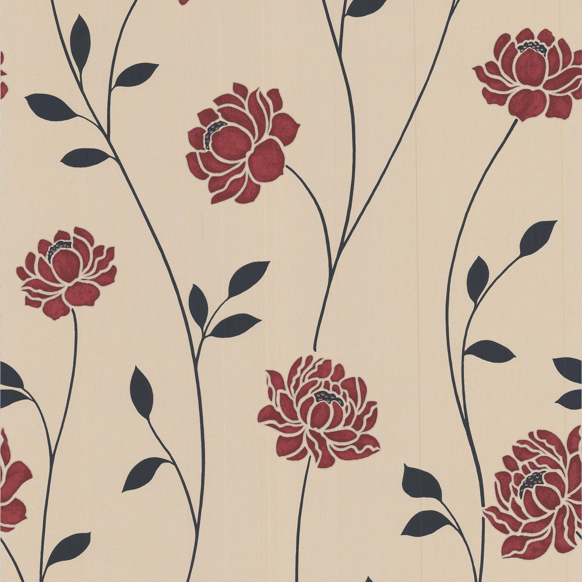 Colours sienna black cream red floral wallpaper for Black and cream wallpaper
