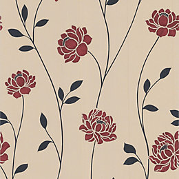 Colours Sienna Black, Cream & Red Floral Wallpaper