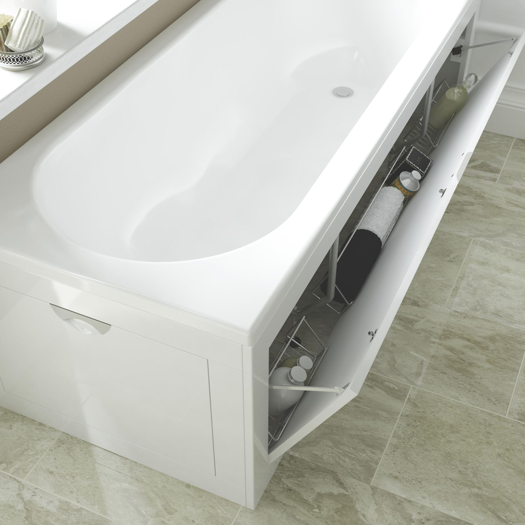 Cooke lewis gloss white bath front panel departments for Bathroom storage ideas b q
