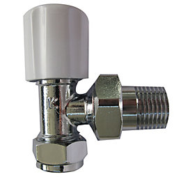 Plumbsure White Chrome Effect Angled Radiator Valve