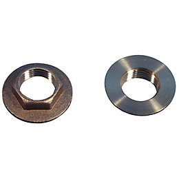 "Plumbsure Brass Flanged Backnut (Thread)1/2"", Pack of 2"