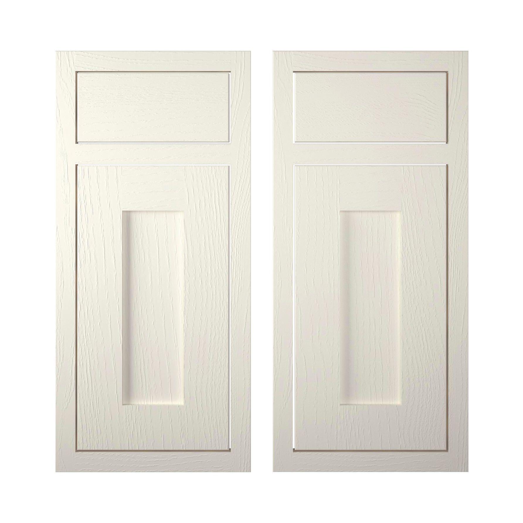Cooke & Lewis Carisbrooke Ivory Framed Corner Base Drawerline Door (w)925mm, Set Of 2