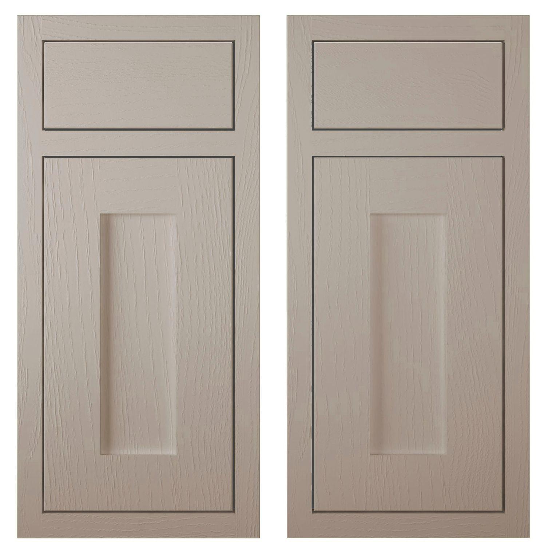 Cooke & Lewis Carisbrooke Taupe Framed Corner Base Drawerline Door (w)925mm, Set Of 2