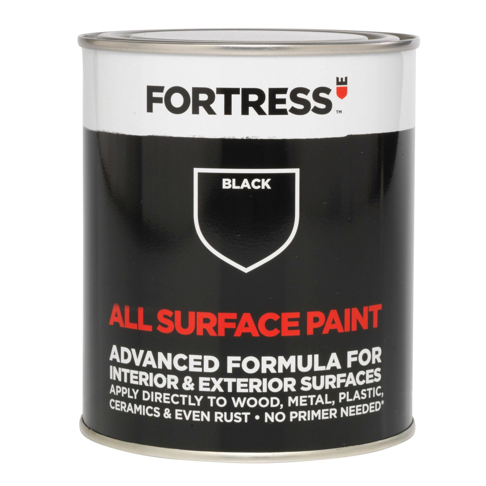Fortress Interior & Exterior Black Satin Multipurpose Paint 250ml