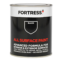Fortress Interior & Exterior Black Satin Multipurpose Paint