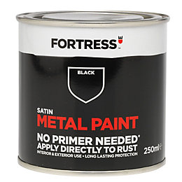 Fortress Black Satin Metal Paint 250ml