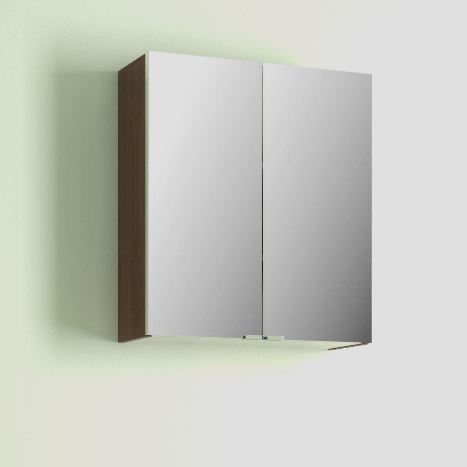 Cooke lewis slimline double door walnut effect mirror for Double mirror effect