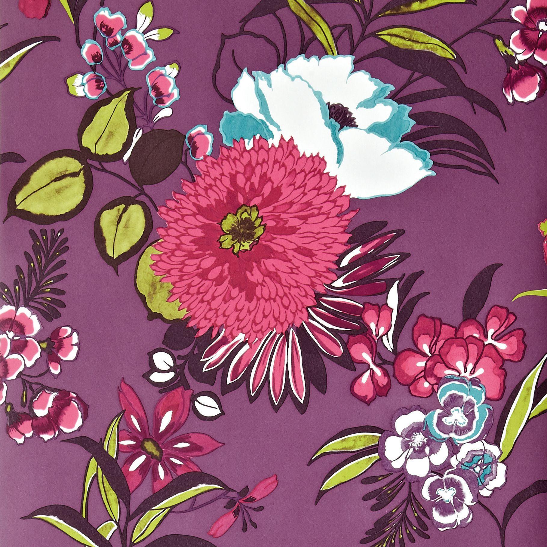 colours cocktail plum floral wallpaper departments diy. Black Bedroom Furniture Sets. Home Design Ideas