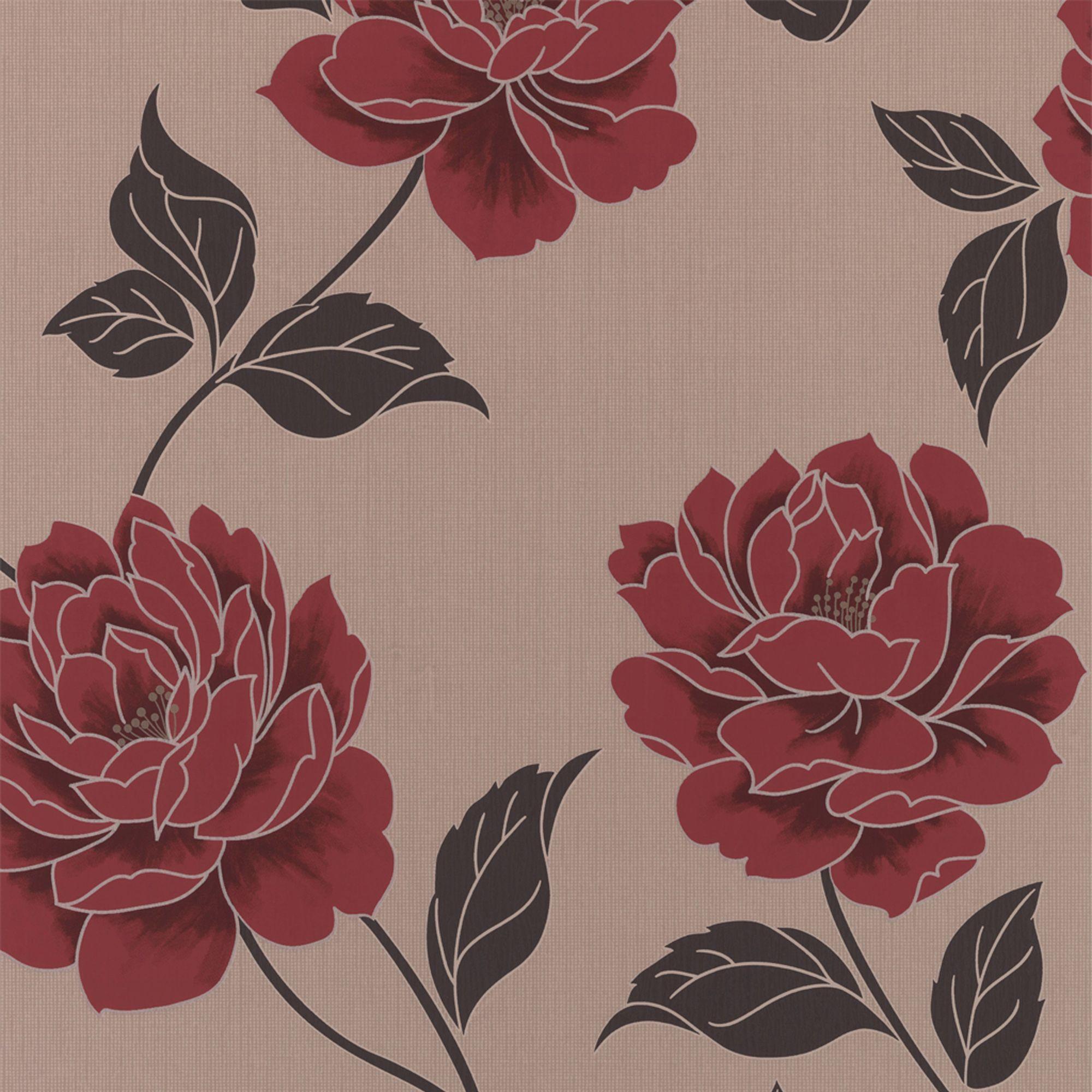 Colours Ella Cream & Red Floral Wallpaper Departments